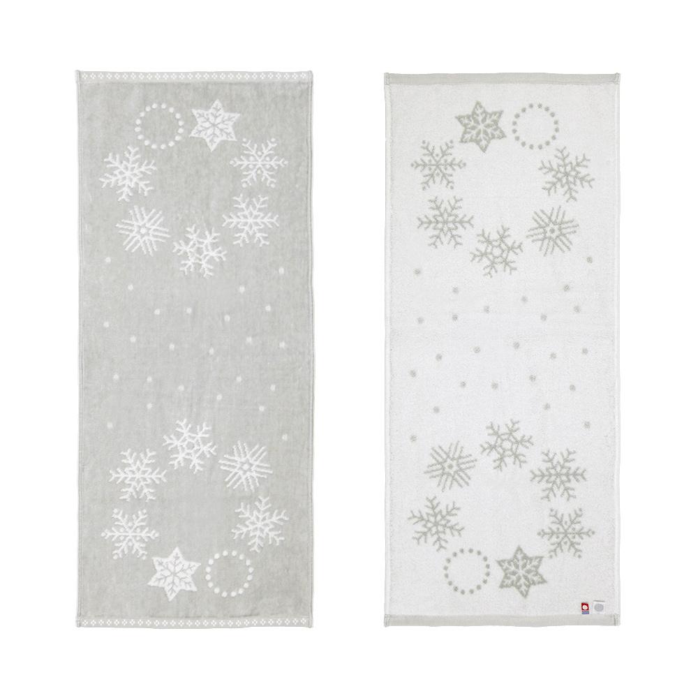 『snow wreath(スノーリース)』フェイスタオル グレー